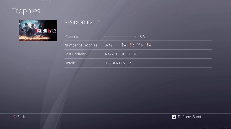 Resident Evil 2 Remake Trophies