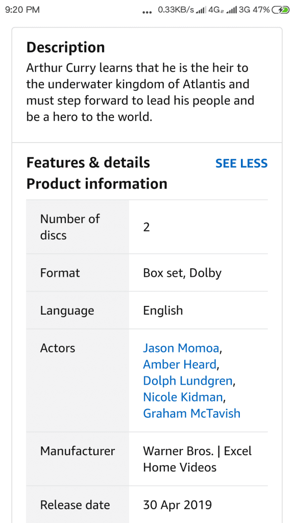 Aquaman DVD Release
