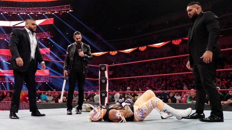 Seth Rollins & AOP brutalize Rey Mysterio (Credit: WWE)