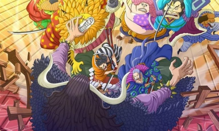 Nine Red Scabbards Attack Kaido